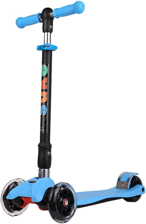 LJHBC Patinete Mini Scooter para niños 4 Rondas Niño y niña de 2 a 8 años. - con Flash PU Rueda Altura Ajustable Fácil de Plegar Pedal de Nylon Peso del rodamiento 80kg