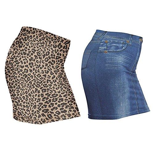 Juego de 2Slim Mini de aspecto Rock Shapewear Blue Jeans Leo Azul Body Former Minifalda 38/40, 42/44o 46/48