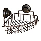 HASKO accessories Corner Shower Caddy with Suction Cup | 304 Stainless Steel | Adhesive 3M Stick Discs | Basket for Bathroom and Kitchen Storage (Bronze)