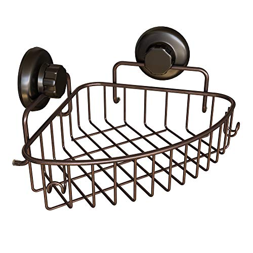 HASKO accessories Corner Shower Caddy with Suction Cup | 304 Stainless Steel | Adhesive 3M Stick Discs | Basket for Bathroom and Kitchen Storage (Bronze) by HASKO accessories