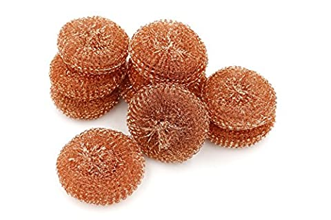 Large Pure Copper Scrubbers, Extra Thick Heavy Duty, 10 Pieces. Perfect for Cleaning Pots, Pans, Glassware. Environmentally Safe.