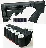 Ultimate Arms Gear Remington 870 20 Gauge Shotgun Package Kit Set Stock, Black + Recoil Butt Pad + 8 Round Ammo Shot Shell Cartridge Holder, Black
