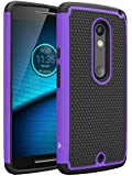 Droid Maxx 2 Case, LK [Shock Absorption] Drop Protection Hybrid Dual Layer Armor Defender Protective Case Cover for Motorola Droid Maxx 2 (Purple)