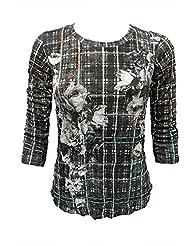 David Cline Womans Crew-Neck Crushed Shirt. Super Soft Comfortable fabric. Antique Design.