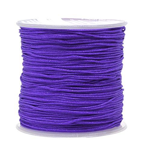 Purple Silk Thread Bracelet (Mandala Crafts 1mm Satin Nylon Chinese Knot Rattail Macramé Beading Knotting Sewing Cord, 100M (Purple))