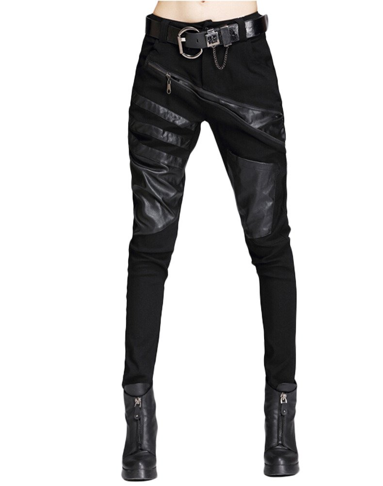 Minibee Women's Patchwork Leather Personalized Trousers Punk Style Black L