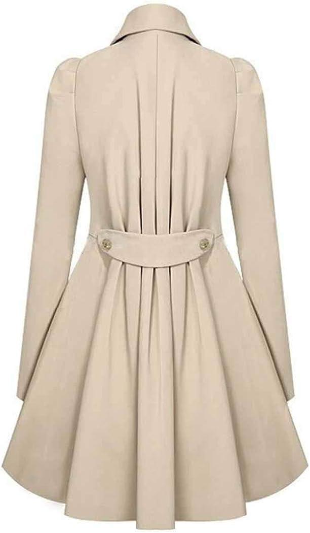 berill Womens Wool Trench Coat Lapel Wrap Swing Winter Long Overcoat Jacket