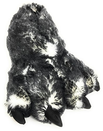 Wild Ones Furry Animal Claw Slippers for Toddlers, Kids and Adults (Large Womens 9 ½ to 12 and Mens 8 ½ to 14, Gray Wolf) ()