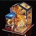 3d DIY木製人形家ミニチュアハンドメイドPlaysetドールハウスwith LEDライト&家具、Festiveクリスマス誕生日ギフト、教育玩具セット