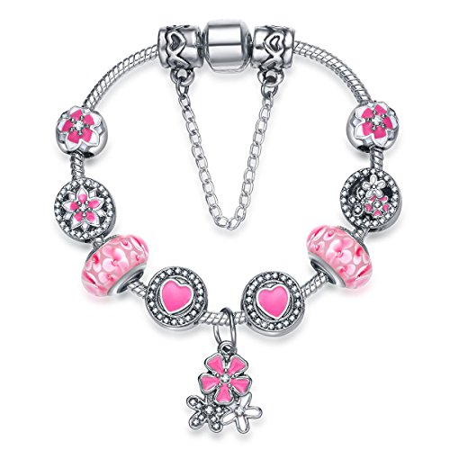 Presentski Magnolia Flowe Charm Bracelet with Cherry Blossoms Pendant 925 Silver Plated Colour Enamels Christmas Day Gift for Daughter