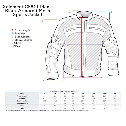 Xelement CF511 Mens Black Armored Mesh Sports Jacket - Small by Xelement (Image #5)