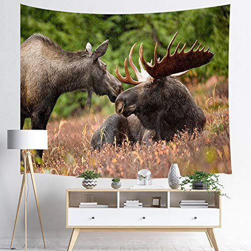 NYMB Moose Tapestry Wall Hanging, Elk in Winter Country Forest Wildlife Reindeer Theme Christmas, Panels Bedroom Living Room Dorm, 71 X 60in Polyester Mandala Hippie Style Blankets Home Art Decor
