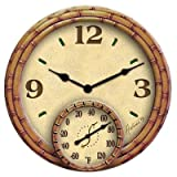 Springfield Polyresin Clock with Thermometer, 14-Inch, Bamboo