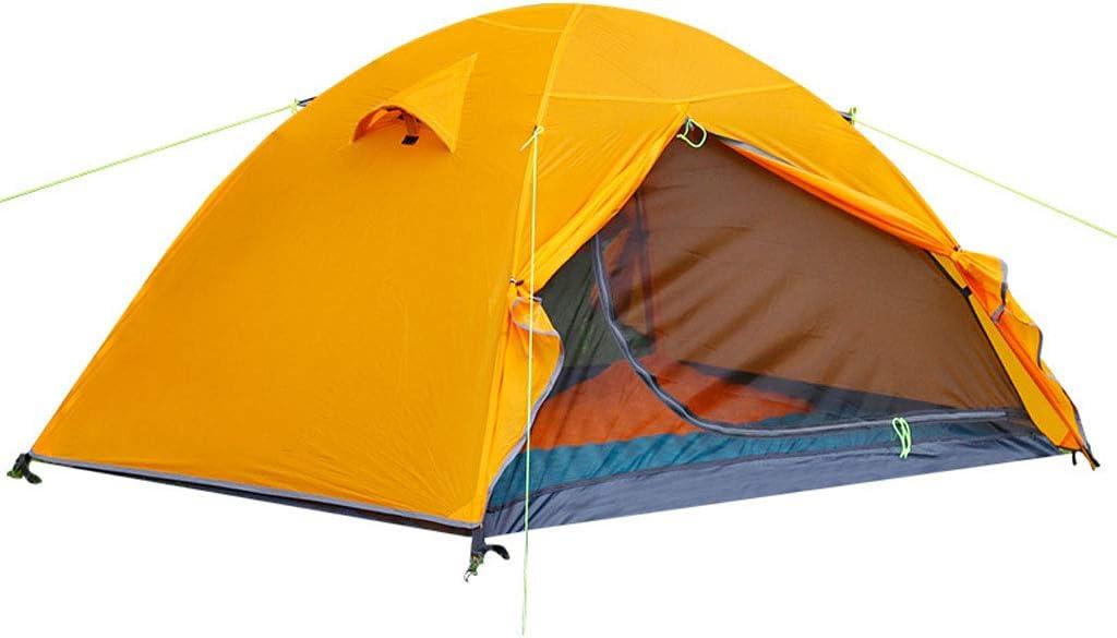 遮光ネット迷彩ネット 超軽量アウトドア二階建てキャンプテント20Dシリカゲル耐風テントアルミ合金テント210TグリッドクロスボトムカーテンB3ファインポリエステル通気性メッシュガーゼ205 * 130 * 110cmオレンジ外幕 屋外の日陰の庭に適しています
