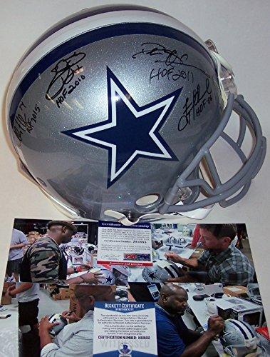 - Troy Aikman, Deion Sanders, Emmitt Smith, Charles Haley - Autographed Official Full Size Riddell Authentic Proline Football Helmet - Dallas Cowboys - PSA/DNA - Beckett