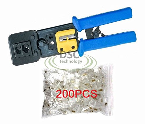 EZ-RJ45 Cat6 Connector Crimping Tool End Pass Through Crimp Cutter with 200PCS EZ-Cat6 (6p6c Crimp)