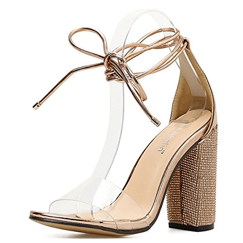 Mariage Slip Pompes Talons Les Tie Femmes Toe Peep Stiletto Robe Mode Sur La Hauts De Extreme Soirée Glod Jusqu'à De Chaussures xY4Yf6