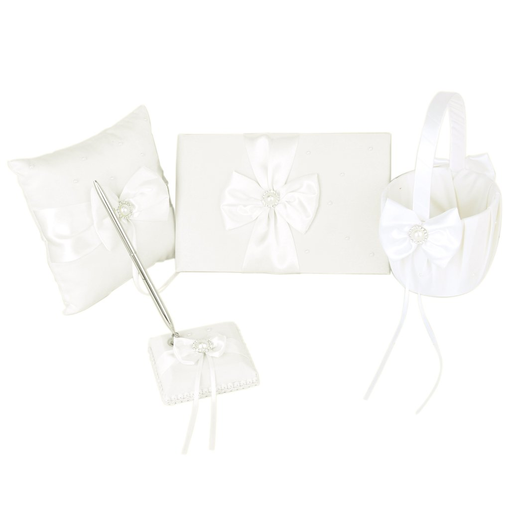 Ivory Faux Pearl Bowknot Wedding Party Guest Book + Pen + Ring Pillow + Flower Basket + Pen Stand Set by Generic