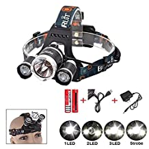 Sotijobs 6000LM CREE Xm-l XM L3 x T6 Led Tourch Rechargeable HeadLamp HeadLight 4 Modes Outdoor Flashlight (NO USB)