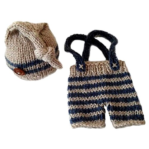 [Zeroyoyo Newborn Baby Boys Crochet Knit Hat Photo Prop Bib Pant Hat Costume] (Cute Baby Boy Costumes Ideas)