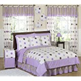 Purple and Brown Modern Dots Childrens Bedding 4 Piece Girls Twin Set