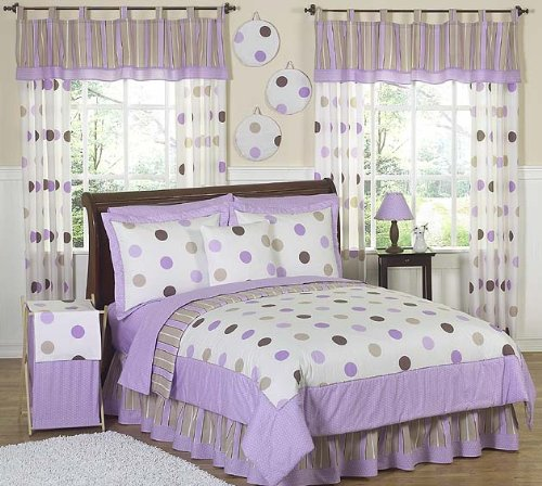 Sweet Jojo Designs 3-Piece Purple and Brown Modern Dots Children's, Kids, Teen Full/Queen Girls Bedding Set
