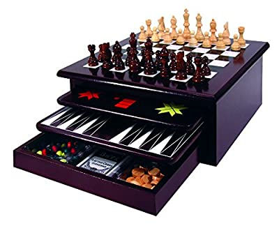 Etna Board Game Set - Deluxe 15 in 1 Tabletop Wood Game Center with Storage Drawer - Checkers, Chess, Chinese Checkers, TicTacToe, Snakes and Ladders, Poker Dice, Playing Cards, Dominos and More