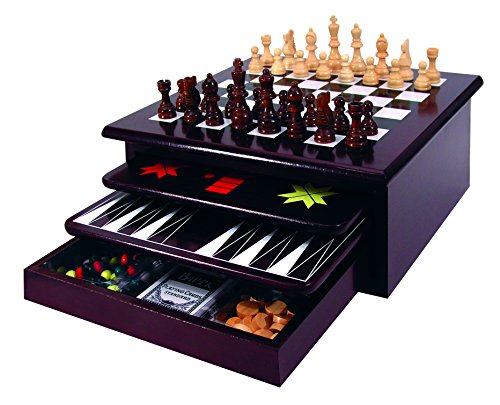 Chess Wood Deluxe Board - Etna Board Game Set - Deluxe 15 in 1 Tabletop Wood Game Center with Storage Drawer - Checkers, Chess, Chinese Checkers, TicTacToe, Snakes and Ladders, Poker Dice, Playing Cards, Dominos and More