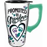 Spoontiques 12835 Promoted to Grandma Ceramic Travel Mug, One Size, White