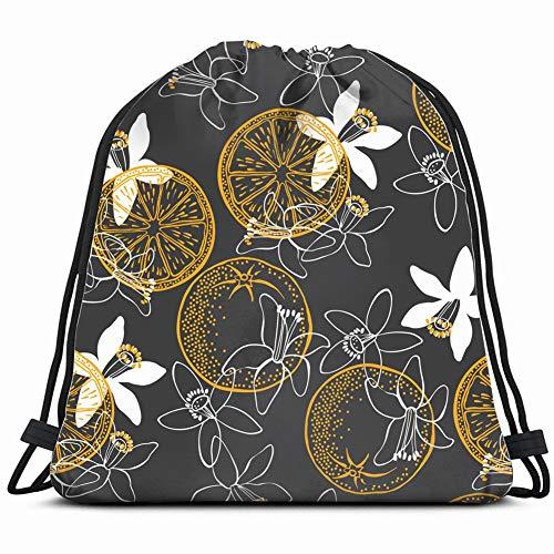 (orange fruit blossom nature Drawstring Backpack Gym Sack Lightweight Bag Water Resistant Gym Backpack for Women&Men for Sports,Travelling,Hiking,Camping,Shopping Yoga)