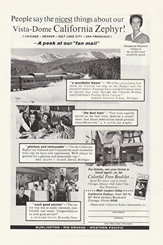 California Zephyr Vista Dome Railway Vintage Ad - 1960's # -