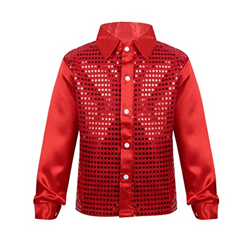 YiZYiF Little Big Boys' Long Sleeve Sparkly Sequins Button-Down Shirt Hip Hop Jazz Dance Performance Costumes Red 5-6