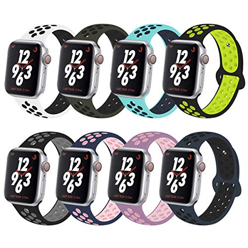 YC YANCH Greatou Compatible for Apple Watch Band 38mm 40mm,Soft Silicone Sport Band Replacement Wrist Strap Compatible for iWatch Apple Watch Series 4/3/2/1,Nike+,Sport,Edition,M/L Colorful