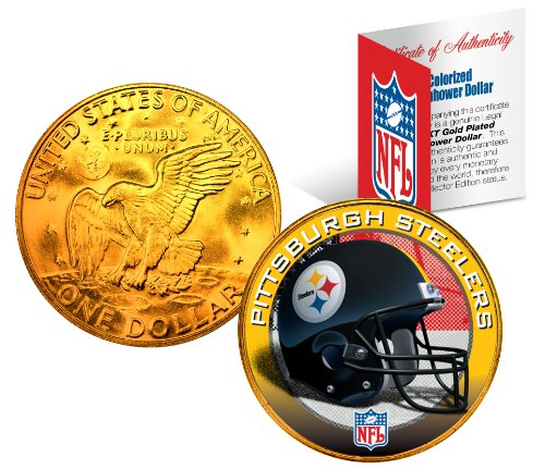 PITTSBURGH STEELERS NFL 24K Gold Plated IKE Dollar US Coin OFFICIALLY LICENSED with NFL Certificate