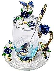 LANTREE Vasos de té con diseño de Mariposas y Hadas, Regalo de Agradecimiento para Mujeres(Blue Tall)