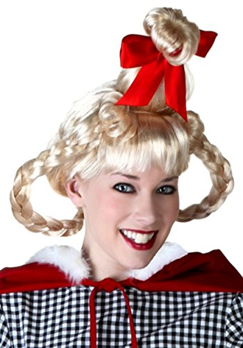 Christmas Girl Wig with Red Satin Bow on Top Standard