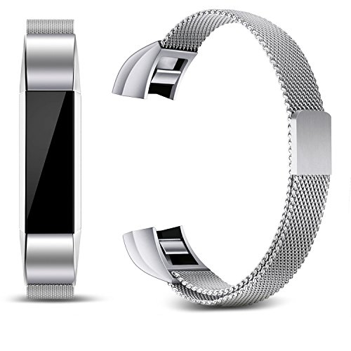 Konikit Fitbit Alta HR and Alta Bands Metal, Milanese Stainless Loop Steel Adjustable Replacement Accessory Metal Band for Fitbit Alta HR and Alta Fitness Wristband (Silver)