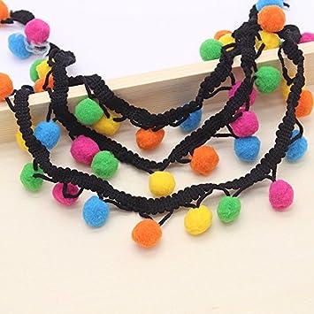 1af6da0749 Amazon.com: 1y/lot 12mm Rainbow Pom Pom Trim Tassels Ball Fringe ...