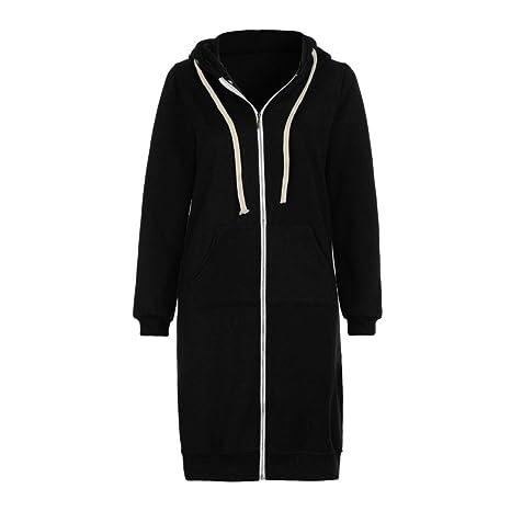 Abrigo de mujer, Xinan Top de mujer Sudadera con capucha abierta cremallera caliente Chaqueta larga