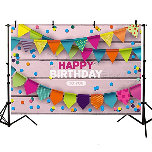 MEHOFOTO Photography Backdrops Happy Birthday Party Decoration Colorful Flag Wood Photo Studio Booth Background Banner 8X6ft