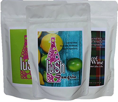 Lush Wine Mix - Organic Mix for Delicious Wine Slushie & Wine Cocktail (Combo 3 pack Autumn/Winter, 3- pack) (Non Alcoholic Sangria With Sparkling Grape Juice)