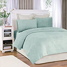 Soloft Plush Queen Bed Sheets Set, Casual Micro Plush Bed Sheets Queen, Sterling Bedding Sets 4-Piece Include Flat Sheet, Fitted Sheet & 2 Pillowcases, Aqua