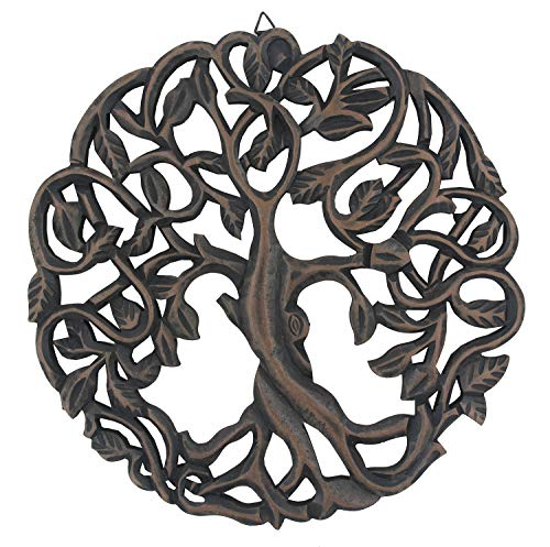 (DharmaObjects Handcrafted Wooden Celtic Tree of Life Wall Decor Hanging Art (Black))