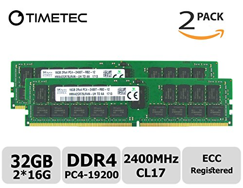 Timetec Hynix 32GB Kit (2x16GB) DDR4 2400MHz PC4-19200 Registered ECC 1.2V CL17 2Rx4 Dual Rank 288 Pin RDIMM Server Memory RAM Module Upgrade (32GB Kit (2x16GB)) -