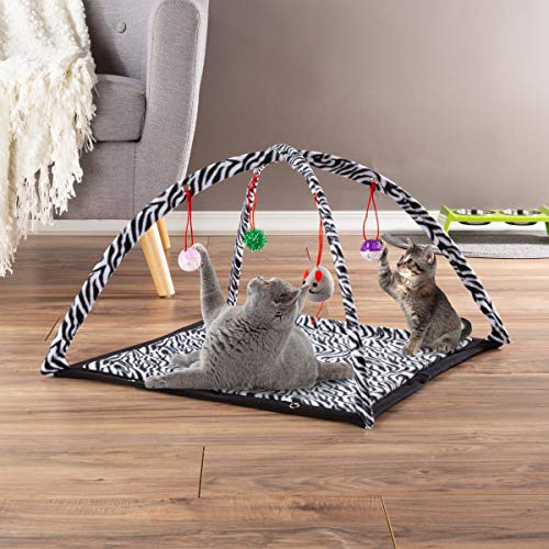 PETMAKER Cat Activity Center- Interactive Play Area Station for Cats, Kittens with Fleece Mat, Hanging Toys, Foldable…
