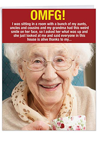 Sayings Thank You (Hilarious 8.5 x 11 Inch Thank You Greeting Card w/Envelope - 'Weird Grandma Thanks' - Funny Granny Joke Saying Everyone in the Family is Alive Thanks to Her Vgina J9792)
