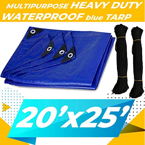 20'x25' Heavy Duty Waterproof Tarp - Multi-Purpose Blue Tarpaulin with Grommets, Reinforced Edges and Nylon Paracord for Outdoor Rain Shelter, Ground Cover, Boat, RV, Car, Roof or Pool Cover (Furniture Amart Outdoor)