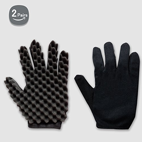 Curl Hair Sponge Gloves Tutorial for Barbers Wave Black Twist Brush Styling Tool For Men and Women Curly Hair Care Dreads Afro Locs Twist Dreadlocks Coil By Kasimedo (2 Pair)