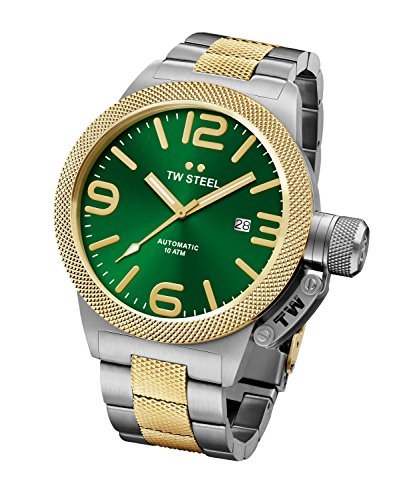 Amazon.com: TW Steel CB66 Mens Canteen Bracelet Automatic Green Dial Two Tone Yellow Gold Steel Watch: Watches