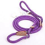 Coolrunner Pet Dog Leash Whisperer Cesar Slip Training Leash Lead Collar For Medium Large Dogs (L 1.4×150cm, Purple)